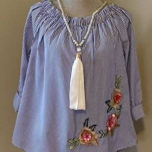 Pinned stripe top with 3rd Floral Design